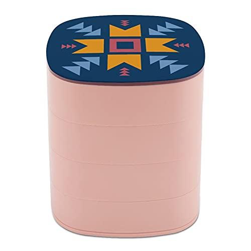 Rotar la caja de joyería Diseño Arte Geométrico Decoración Hermosa Caja de joyería de diseño pequeño con espejo, diseño de múltiples capas plato de joyería para mujeres niña