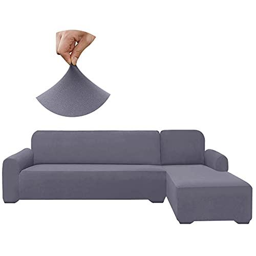 HDCAXKJ - Fundas de sofá seccionales superelásticas, resistentes al agua, en forma de L, universal, 2 piezas, gruesas, en forma de L, antideslizantes, protector de muebles para perros (gris claro, grande)