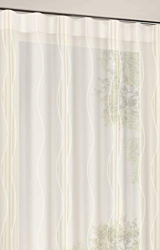 Rideau Gerster Happy Home Voile Rideau Store Rideau décoratif Rideau Bande Design Vague Blanc mi-Transparent 143 cm x 167 cm d'onde Beige