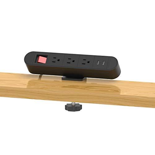 Tischklemme Power Strip Desktop-Removable Steckdose mit 2 USB-Doppeltrennschalter 3 AC Connect 6.2 ft Starkstromverlängerungskabel (Farbe: 3AC2USBSW) kshu (Color : 3ac2usbsw)