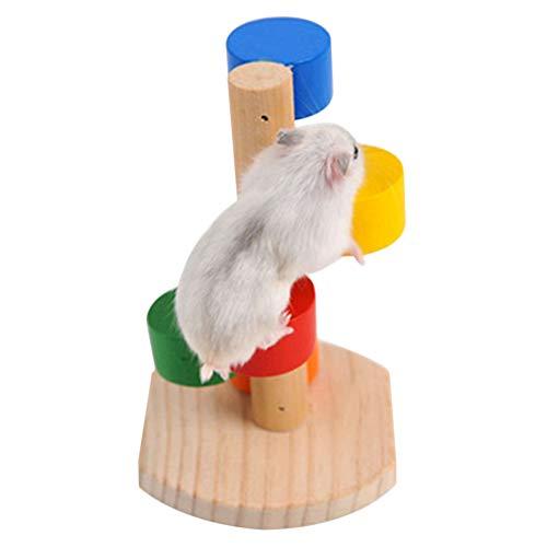 Demarkt Juguete para hámster de madera, columpio colorido, juguete divertido, juguete para escalar, para hámster