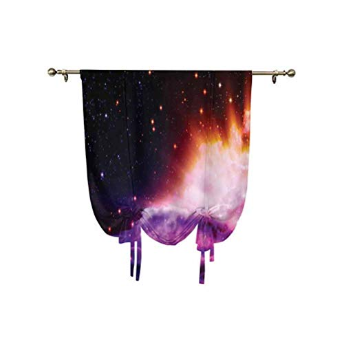 Space Decorations Tie Up Curtain Panels,The Polar Northern Beams and the Stars Like Nebula Astro Movements Artprint Thermal Insulated Balloon Roman Shades,39x63 Inch,for Small Window/Kitchen Navy Purp