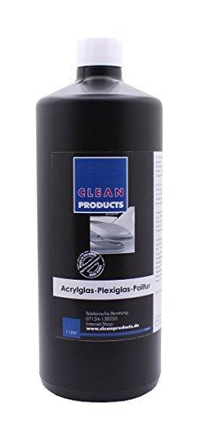 CLEANPRODUCTS Acrylglas-Plexiglas-Politur 1 Liter - Speziell zum Polieren + Reinigen von Kunststoff. Kunststoffpolitur, Acrylglaspolitur, Plexiglaspolitur