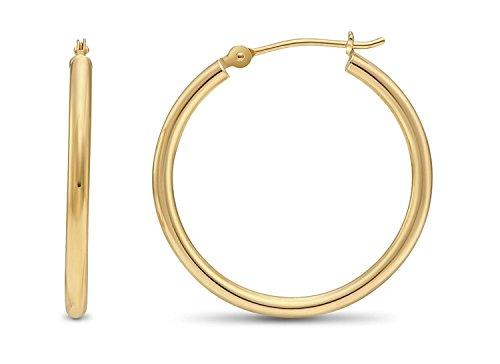 14 Karat 585 Gold Hochglanz Creolen Ohrringe Gelbgold - Breite 2 mm - Große Wählbar (23 Millimeter)