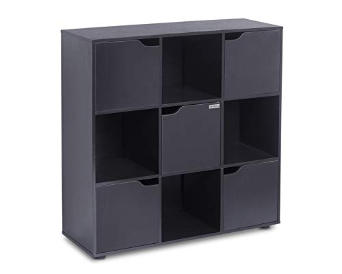 ts-ideen Standregal Bücherregal Sideboard Buchregal Wohnregal Schwarz Modern mit Türen