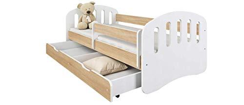 Happy Babies – Cuna infantil de doble cara con cajón, diseño moderno con bordes seguros y protección contra caídas, colchón de espuma de 7 cm 160/80 180/80 (roble Sonoma, 160/80)