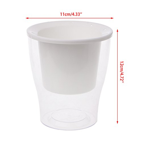 Dabixx Car Irrigate Flower Pot Vase Automatique pour Arroser Lazy Planter Round Planting - Blanc (Plus Perle Coton)