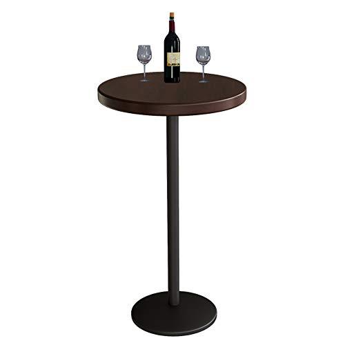 KST Mesa de Bar, Mesa Alta, Mesa Redonda de Madera Maciza y Estructura de Hierro Forjado Negro, Decoración de Muebles de Interior de Bar en Casa, Mesa de Café para Cafés, Pubs, 55 × 105cm
