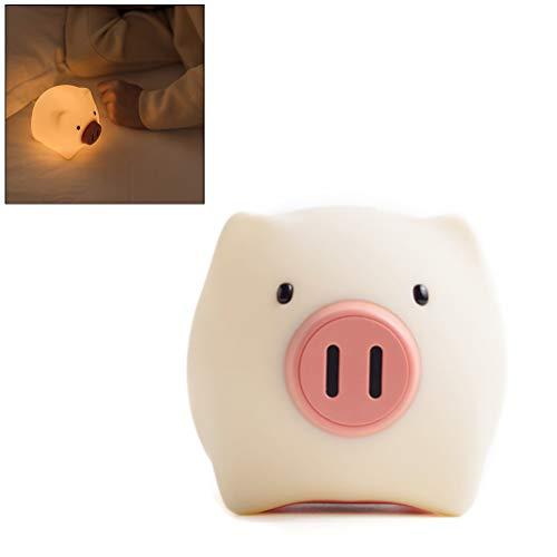 Luz nocturna LED para bebés, lámpara de noche para niños, diseño de cerdito, suave, de silicona, regulable, para habitación de bebé, dormitorio, salón y camping