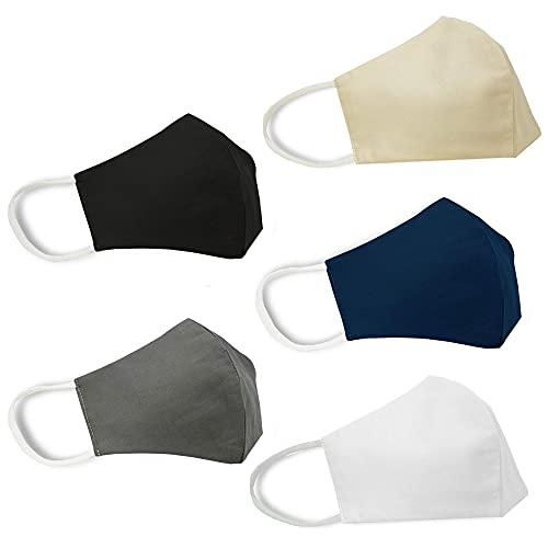 TRIDENT Solid Mascarilla facial grande Algodón 2 capas 5 piezas Reutilizable Anti-polvo Protección UV Mascarilla facial Unisex Moda Cubierta facial lavable (Surtido)