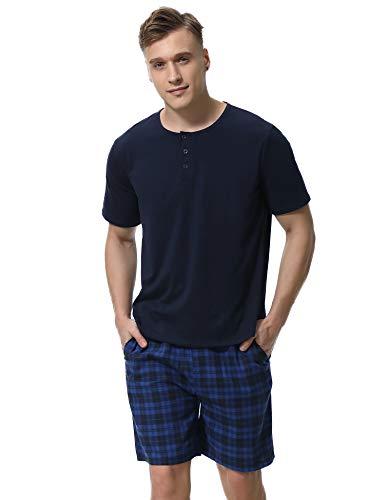 Aibrou Pijama Hombre Verano Corto Set,Camiseta y Pantalones Celosía Algodón Cortos Cómodo y Transpirable Ropa de Dormir 2 Piezas S-XXL