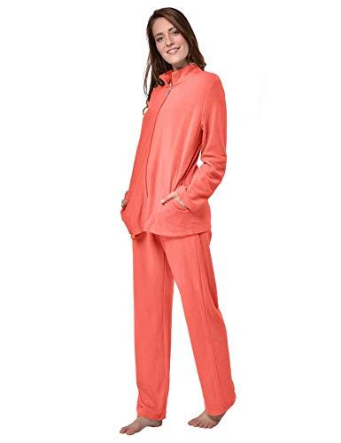 RAIKOU Damen Hausanzug Elegant Volltonfarbe Micro-Fleece Schlafanzug Freizeitanzug Hausanzug mit Reißverschluss (40/42,Koralle)