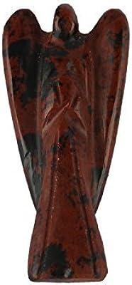 Aatm Mahogany Obsidian Guardian Healing Carved Angel Gemstone Stone Figurine Gift