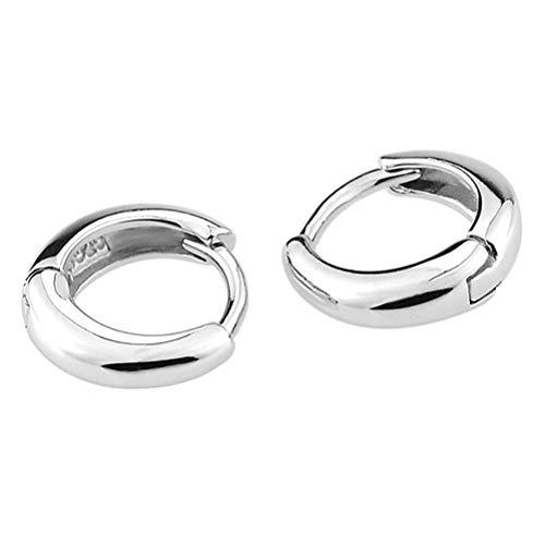 JUNGEN Pendientes de joyería para Mujer y Hombre Pendientes de aro de Acero Inoxidable Pendiente de Plata Pendientes de Aros pequeño Aretes de Moda 1 par
