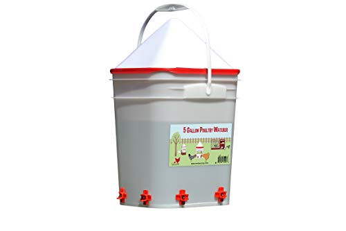 5 Gallon Chicken Waterer - 4 Horizontal Side Mount Poultry...