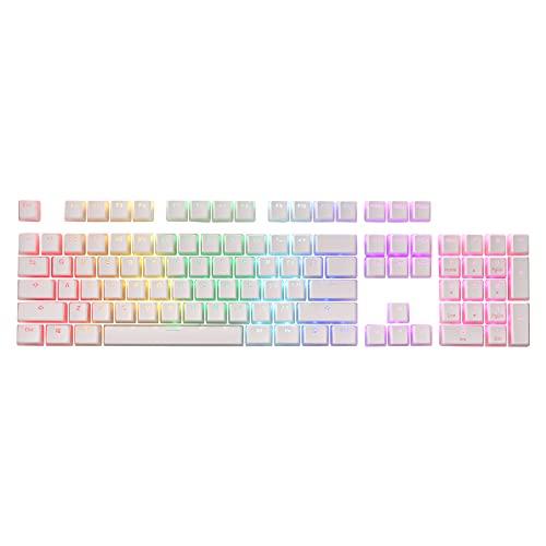 Redragon A130 teclas de pudín blanco, 104 teclas estándar Doubleshot PBT Keycap Set w/capa translúcida para teclado mecánico, perfil de cereza/OEM, diseño de ANSI inglés (US)