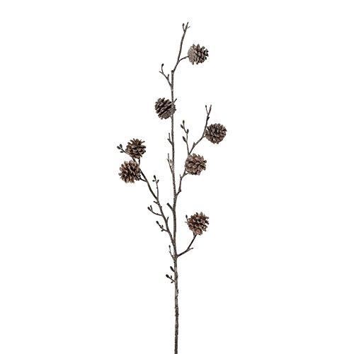 creativ home Künstlicher KIEFERNZAPFENZWEIG 91 cm. Weiss. Zapfen Zweig leicht weiß eingefärbt.