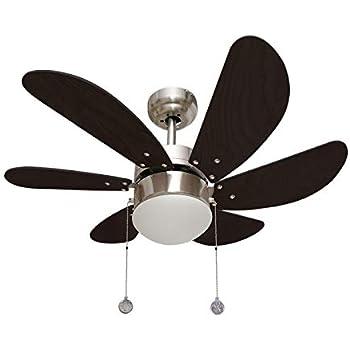 003 Ventilador de techo oferta 1XE27 acabado niquel/wengue, 6 palas y motor reversible. AkunaDecor.: Amazon.es: Hogar