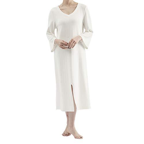 Pfedxoon Pijamas de algodón suave – pantalones cortos de pijama para mujer, de bambú de manga larga, camisones elásticos