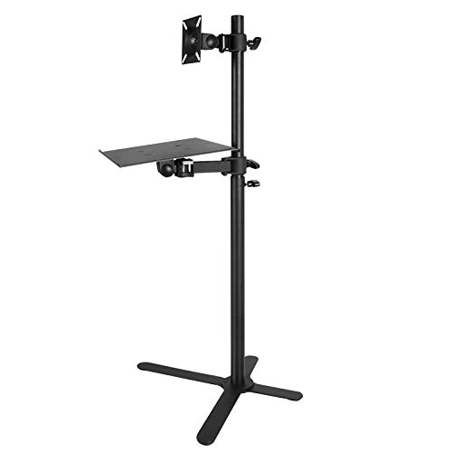 CFJY Floor PC Bracket TV Stand for 12' - 27' Screen, With Laptop/tablet Tray, Multi-angle Adjustable, Max.Load 20kg