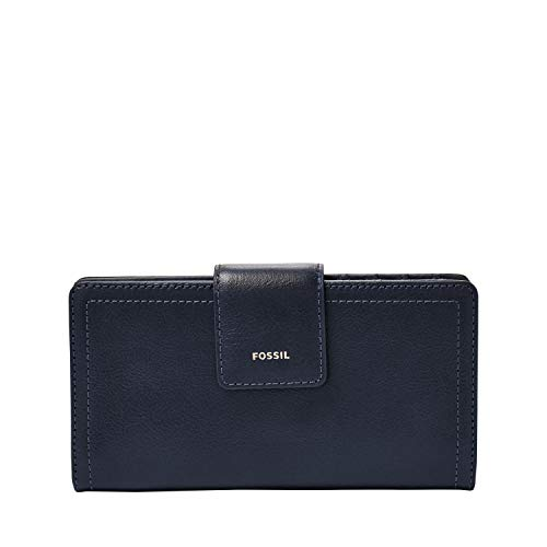 Fossil Women's Logan Leather Tab Wallet, Midnight Navy