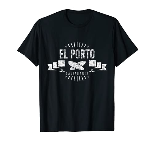 El Porto Surf Vintage Surfing Retro Tabla de surf California Camiseta