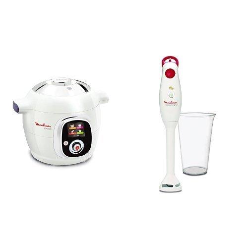 Moulinex CE7041 Intelligent Cookeo Multicuiseur avec 100 Recettes Blanc + Mixeur Plongeant Moulinex DD100141