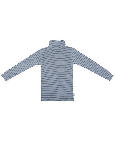 Dilling Rollkragen Shirt für Kinder aus 100% Bio Merinowolle Blau gestreift 146-152