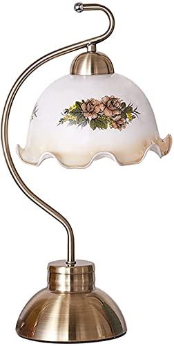Lámpara de mesa, lámpara de mesita de cama de dormitorio minimalista y elegante moderna, lámpara de mesita de noche de personalidad retro pastoral, interruptor de botón, lámpara de mesa de cristal (co