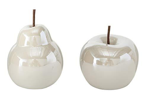 B.o.l.t.z.e Apfel + Birne Perly Porzellan Ø 10 cm, Farben:weiß