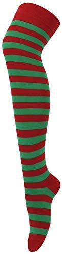 XZM Calcetines Altos a Rayas para Mujer sobre la Rodilla Disfraz, Elfos-Verde/Rojo *, Talla única