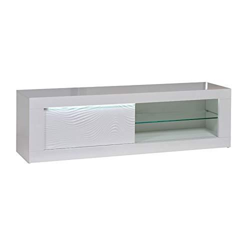 Tousmesmeubles Meuble TV 1 Porte coulissante Laqué Blanc à LEDs - Marks - L 170 x l 45 x H 50 - Neuf