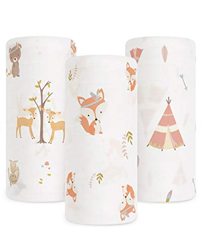 Babebay Baby Muslin Swaddle Blanket 3Pack Unisex Bamboo Swaddle Blanket Boys amp Girl Soft Silky Swaddling Blankets Wrap for Newborn Infant Large 47 x 47 inches Set of 3 Fox Tent and Jungle