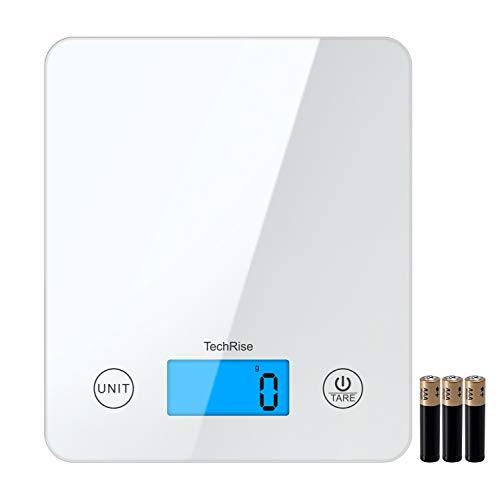 TechRise Báscula de Cocina Digital, Smart Digital Báscula con Pantalla LCD para Cocina de Material de Vidrio, 5kg/11lbs, Balanza de Alimentos Multifuncional, Color Blanco