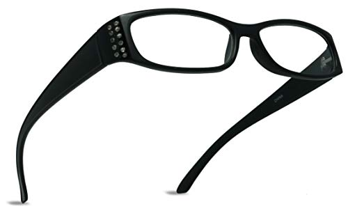 ShadyVEU Rectangular Reading Glasses Prescription Readers Slim Lightweight Rhinestone (Clear, 2.50)