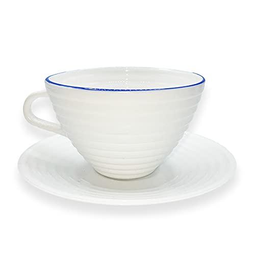 UNISHOP Set de 6 Tazas de Café con Platos, 25cl de Capacidad, para Capuchino Café con Leche y Té, Aptas para Lavavajillas y Microondas
