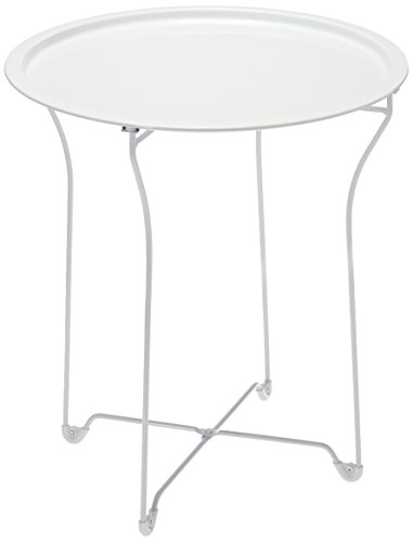 Atlantic urbSPACE Metal Side Table - Stylish Folding Tray Table, Sturdy Steel Construction with Wear-Resistant Powder Coating, PN in White