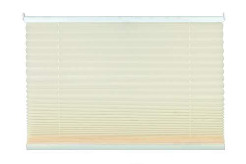 mydeco Plissee cream ohne Bohren 50 cm breit, verspannt, Jalousie Rollo -Komplettset- mit doppelten Stoff (Wabe), 50x130 cm