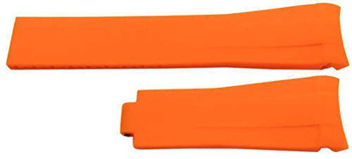 Rubber Watch Strap Made by W&CP to fit Rolex GMT Oyster & Omega SeaMaster Orange 20mm