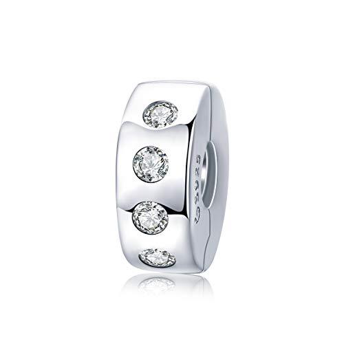 Abalorio de plata de ley con cierre espaciador para pulsera Pandora