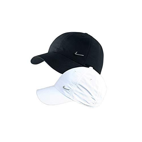 Nike 2er Set Metal Swoosh Logo Cap Weiß, Blau und/oder Schwarz Basecap verstellbar Uni (1x Weiß + 1x Schwarz)
