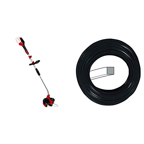 Einhell Akku Rasentrimmer GE-CT 36/30 Li E - Solo Power X-Change (Lithium Ionen, 2x18 V, 9.000 U/min, elektr. Drehzahlregulierung, Tragegurt, Split Schaft) + Sensen Zubehör super cut line 2,0 schwarz