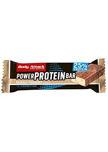Body Attack- Power Protein Bar, Barra proteica con L-Carnitina y Vitaminas 24x35g, yogur de muesli