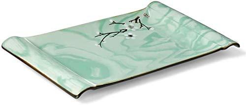TREEECFCST Platos Vajilla Bandeja de Alimentos Utensilios de Cocina Rectangular Placa Italiana Pasta Partido Placa Familia (Color: Verde, Tamaño: 25X16cm) (Color : Green, Talla : 25cm*16cm)
