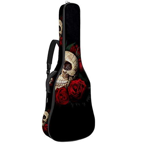 Bolsa para guitarra eléctrica acústica con diseño de calaveras de azúcar, rosa...