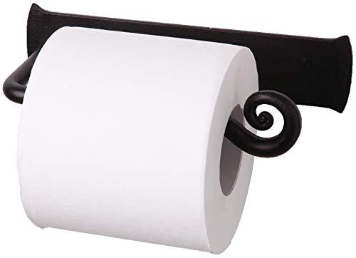 RTZEN Wrought Iron Toilet Paper Holder | Black TP Roll Hanger | Wall Mounted Rod Handmade Roll Hanger Décor