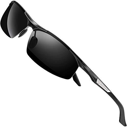 SIPLION Gafas de Sol Polarizadas Hombre para Conducir Deportes ultraligero marco de metal irrompible 100% UV400-8729 Negro