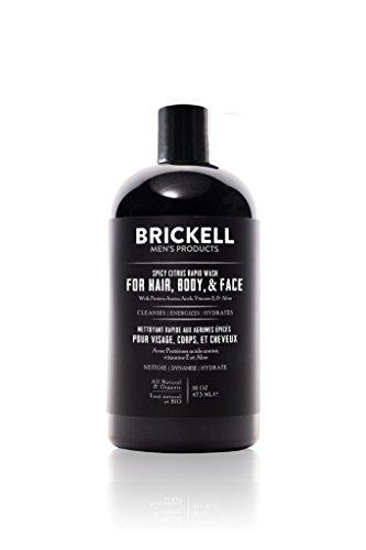 Brickell Men's Rapid Wash - Natürlich und Organisch 3-in-1 Body Wash Shower Gel für Männer (Würzige Zitrusfrische, 473 ml)