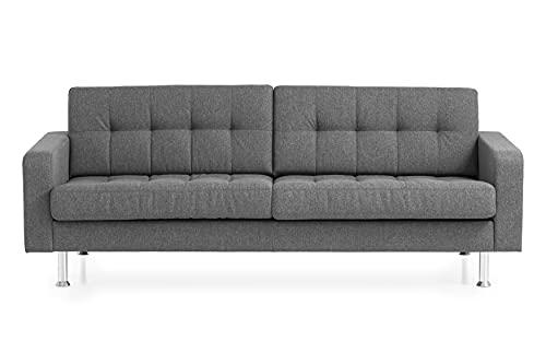 Traumnacht Sofa Laval, 3-Sitzer Couch mit Stoffbezug und Metallfüßen, grau, 204 x 92 x 65 cm