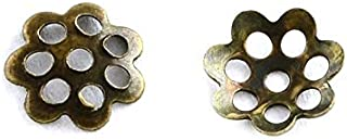 1000pc Antique Brass Pierced Metal Small Daisy Flower Bead Caps for Jewelry Making- 6mm